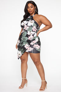 Hawaiian Jam Tropical Midi Dress - Black/combo