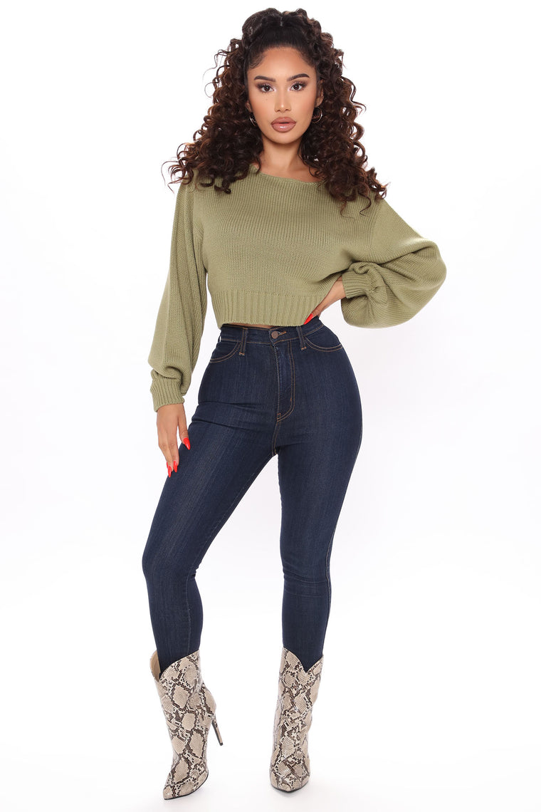 All She Needs Cropped Sweater - Sage