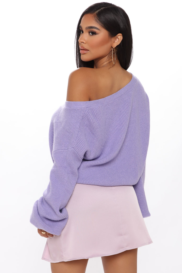 Easy Does It Cropped Cardigan - Purple