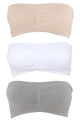 Seamless Staple Bandeau 3 Pack Bralettes - White/combo