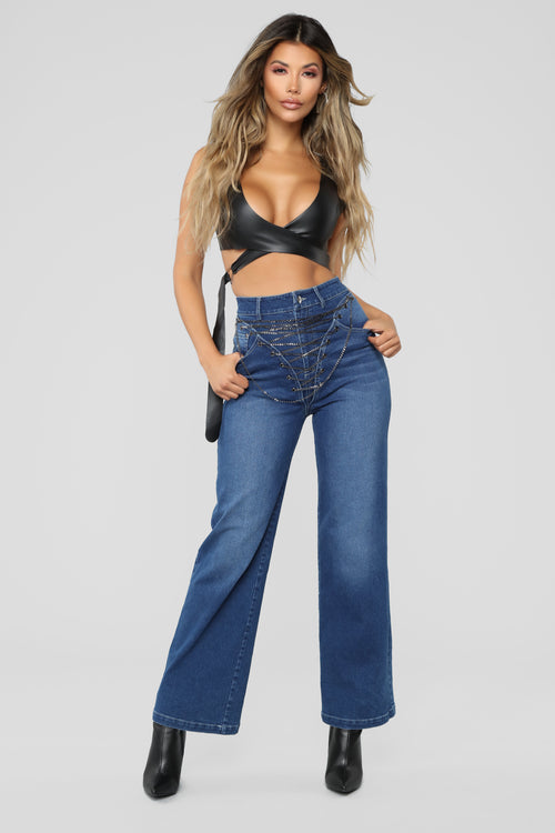 Bound By Love Straight Leg Denim Jeans - Medium Blue Wash