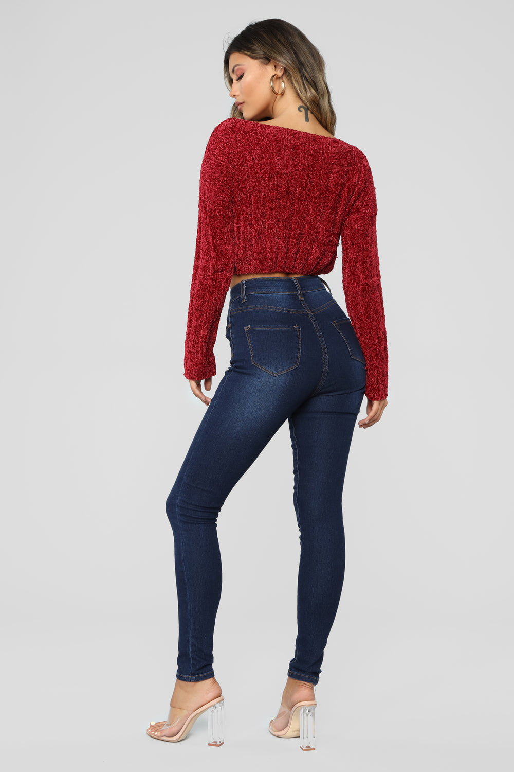 Eva Cropped Sweater - Red