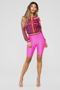 Abstract Love Bomber Jacket - Fuchsia