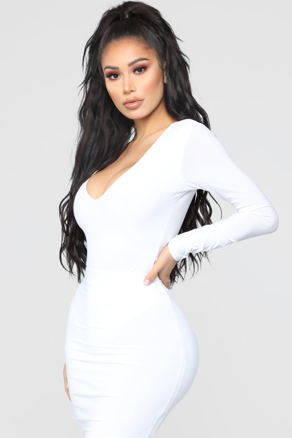 Louise V Neck Bodysuit - White