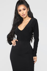 Louise V Neck Bodysuit - Black Angle 3