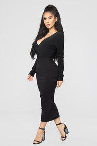 Louise V Neck Bodysuit - Black Angle 9