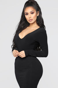 Louise V Neck Bodysuit - Black Angle 4