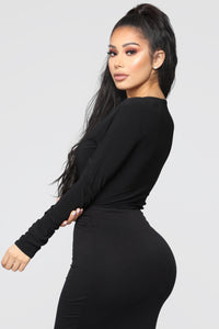 Louise V Neck Bodysuit - Black Angle 7