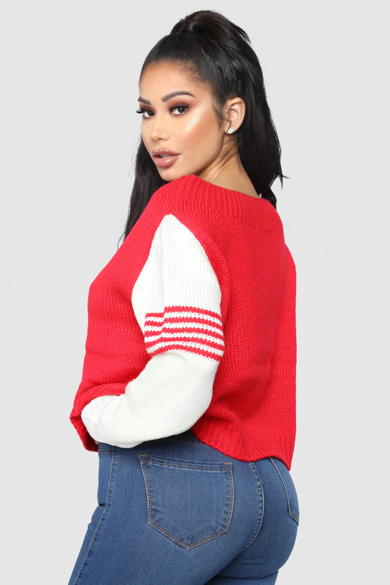 Lets Play Games Sweater - Tomato Red