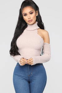 Showing My Cold Shoulder Sweater - Blush
