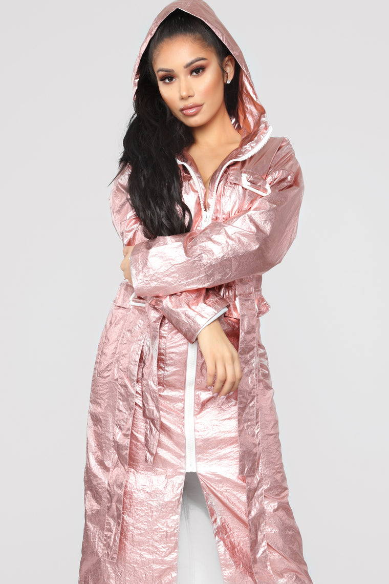 Metallic Feelings Long Jacket - Rose