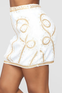 Museum Date Sequin Skirt - White/Gold