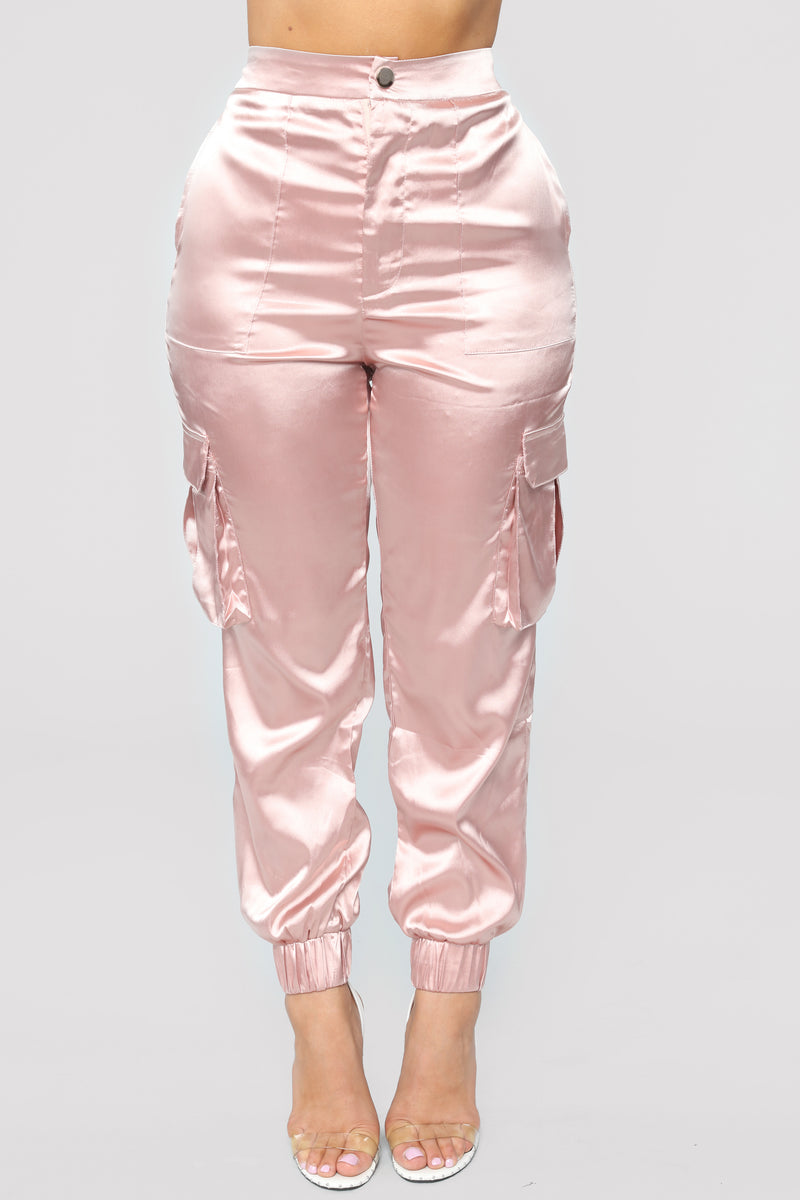 Find Me Online Stretch Satin Cargo Pants - Champagne