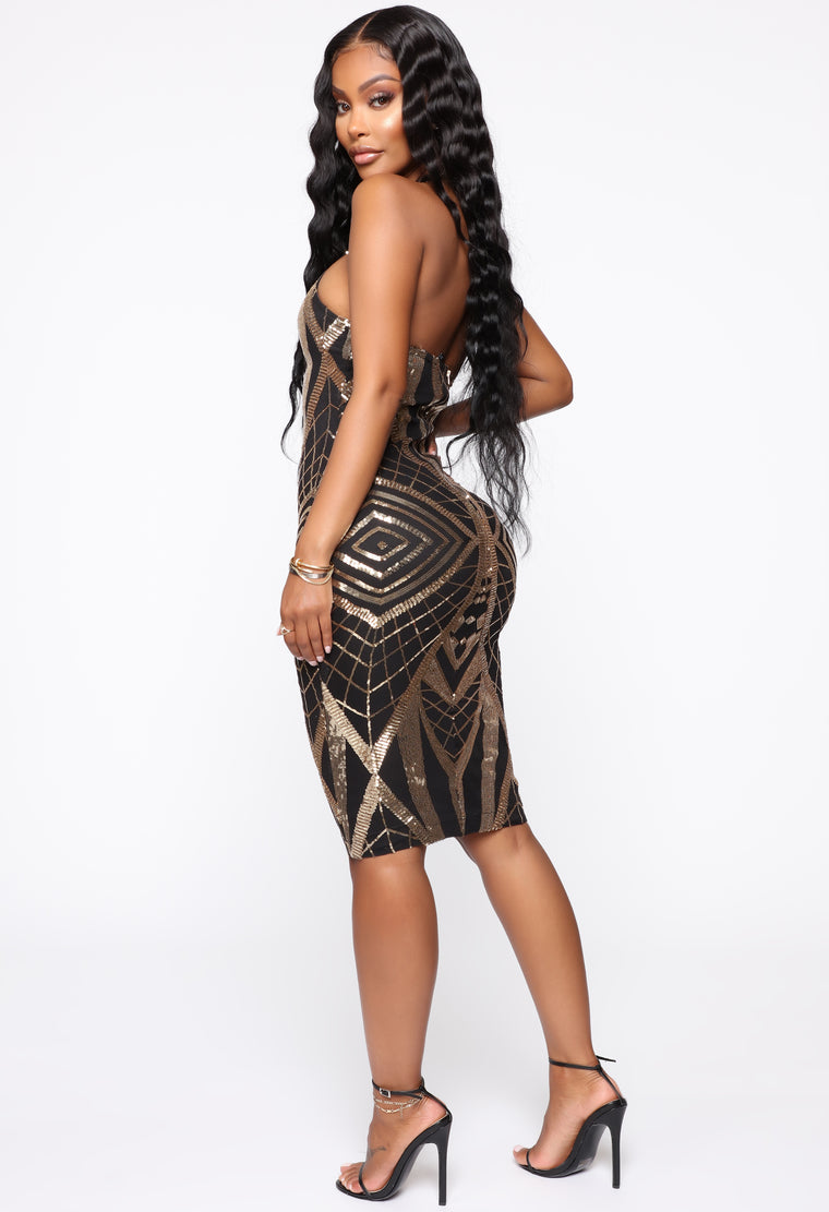 Get Your Shine On Sequin Mini Dress - Black/Gold