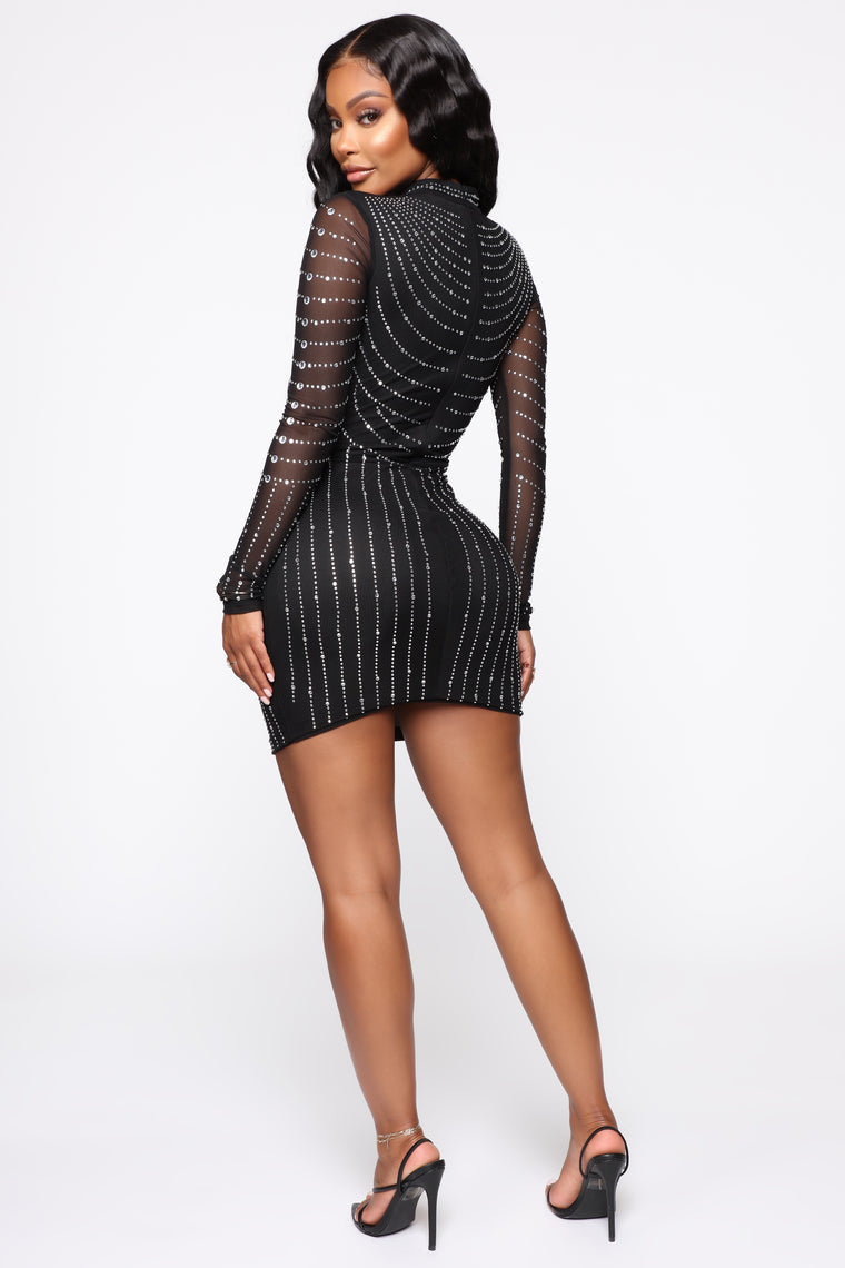 Dripping In Diamonds Mini Dress - Black