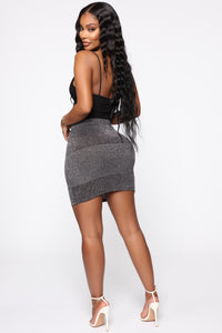 Holding It Down Mini Skirt - Silver