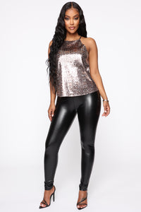 Shining On The Dance Floor Sequin Top - Brown