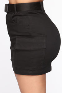 Cargo With Me Mini Skirt - Black