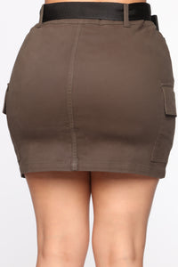 Cargo With Me Mini Skirt - Olive
