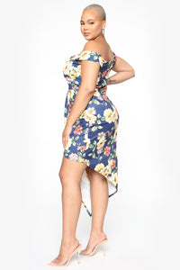 Field Of Sophistication Floral Midi Dress - Navy/Combo