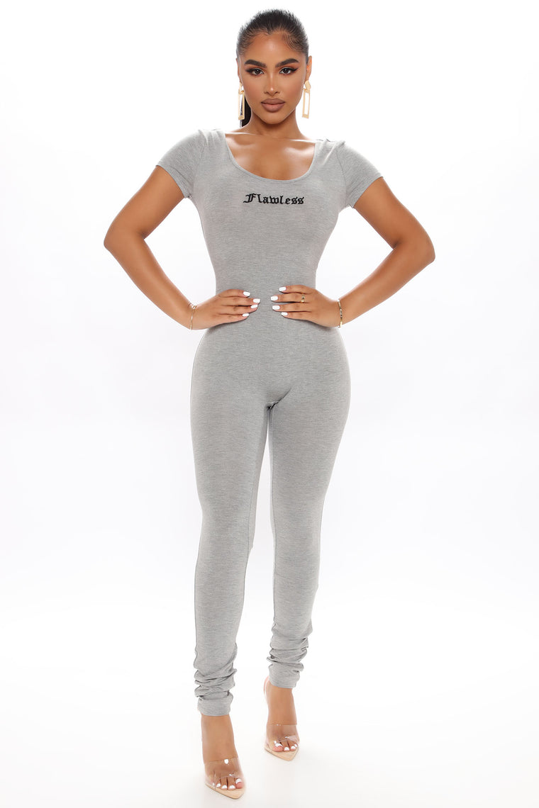 Nova Season Whatever Short Sleeve Jumpsuit - Heather Grey