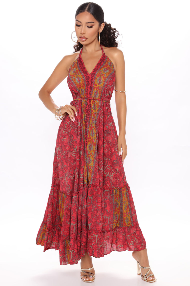 Brunch In Bali Printed Maxi Dress - Pink/combo