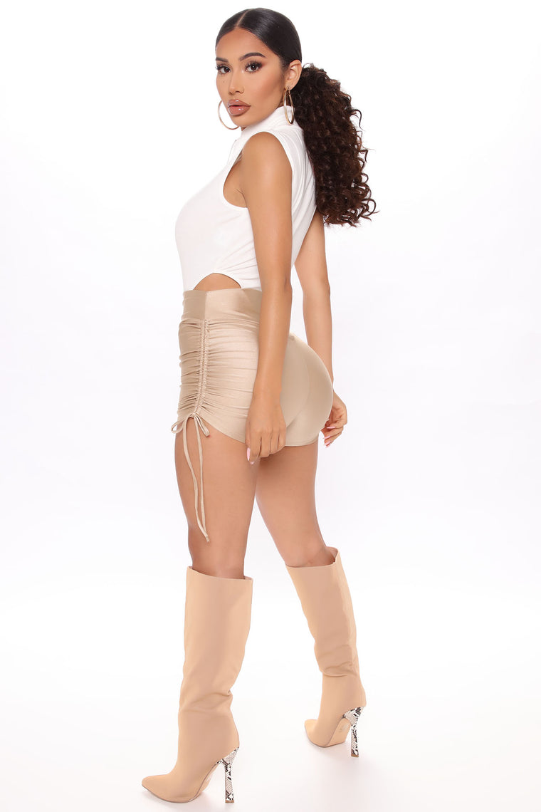 Not So Basic Ruched Shorts - Taupe