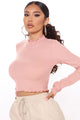 None Of Your Concern Mock Neck Top - Rose
