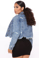 Fray Away Distressed Denim Jacket - Medium Blue Wash
