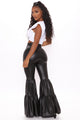 Temperence Faux Leather Tiered Flare Pant - Black