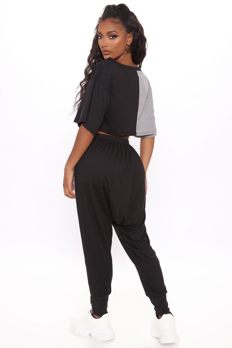 Two Way Super Slouchy Pant Set  - Black/Grey