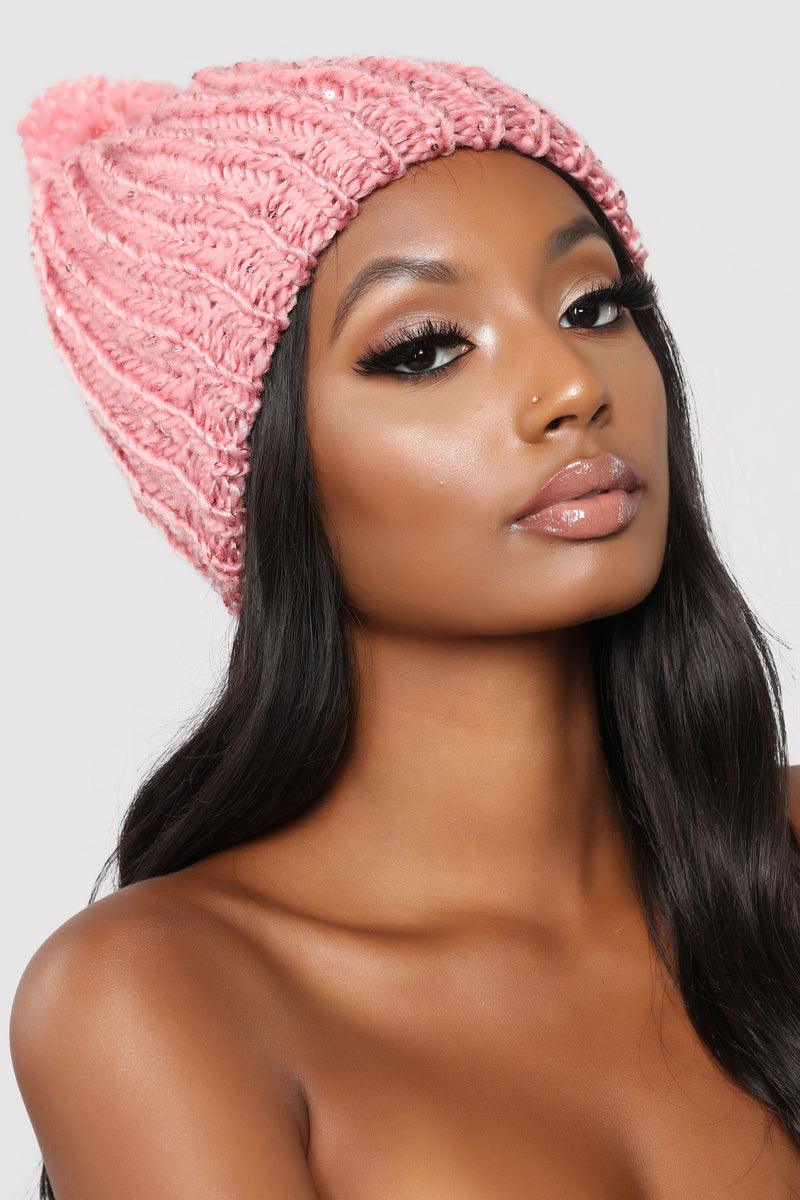 All In Sequins Beanie - Blush