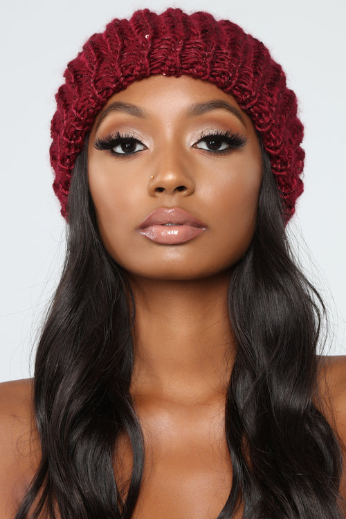All In Sequins Beanie - Burgundy