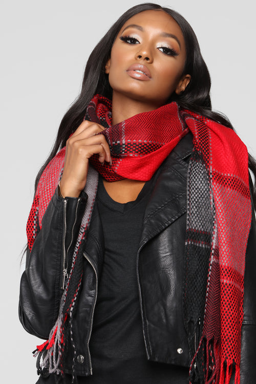 Tartan And Handsome Scarf - Black/Red