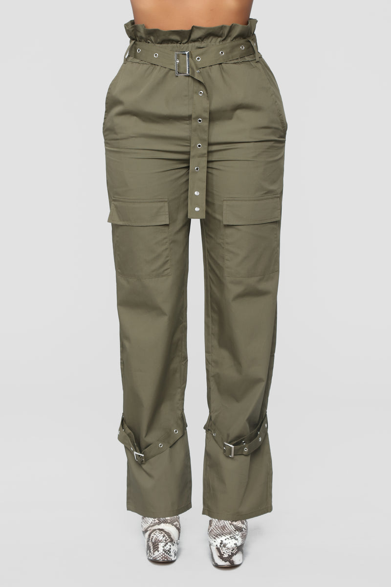 Tied Up Heart Belted Pants - Olive