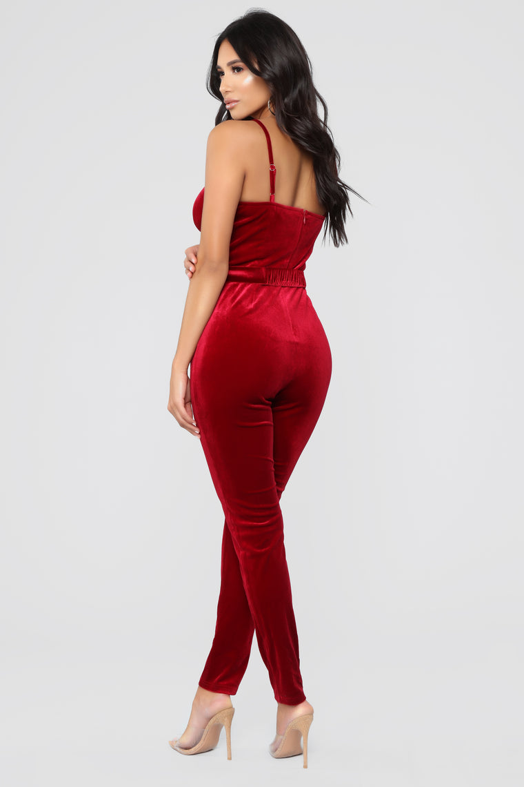 You Need To Buckle Down Jumpsuit - Burgundy