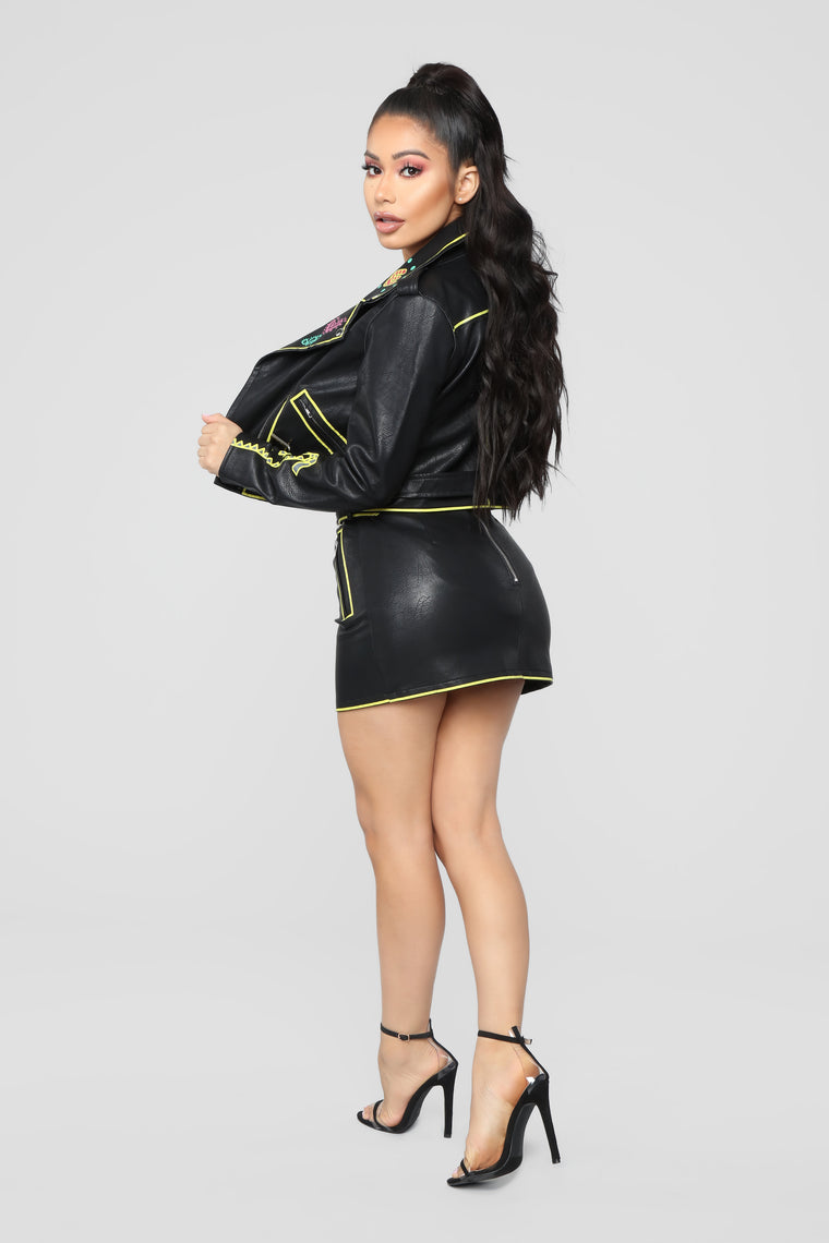 She's With The Band Jacket - Black