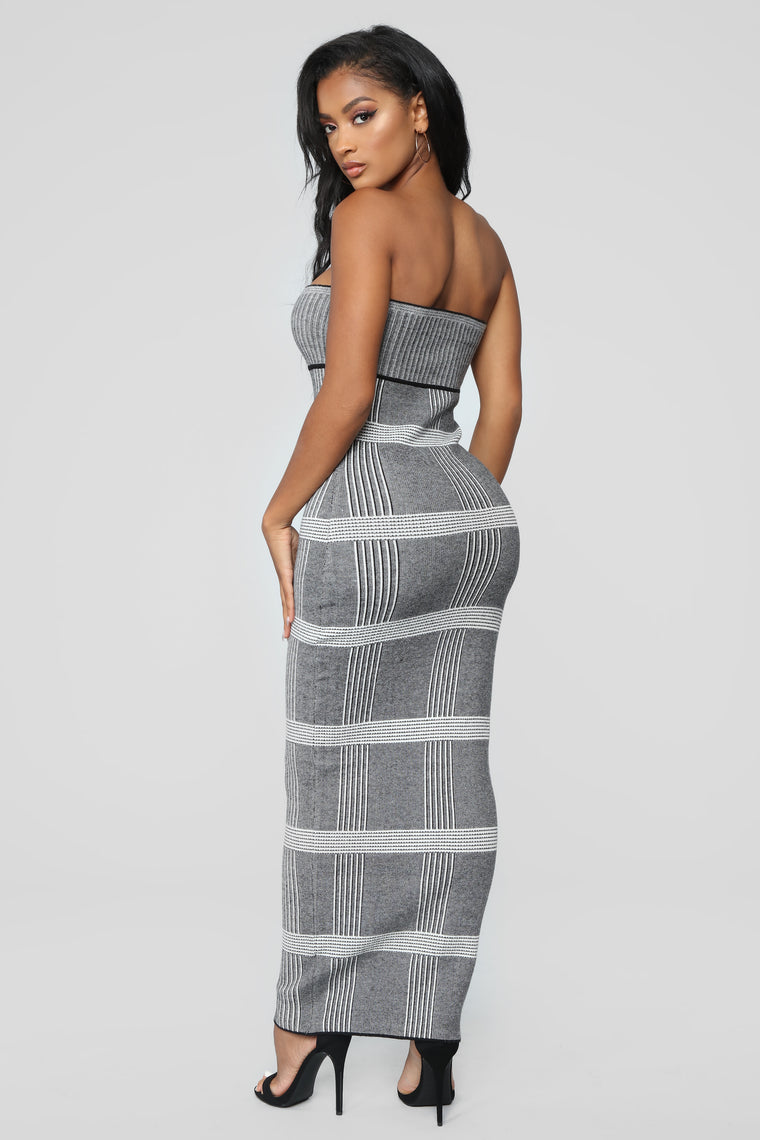 Get Out Of Line Dress - Grey