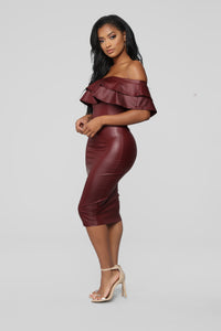 Fall Into Place Dress - Burgundy Angle 3