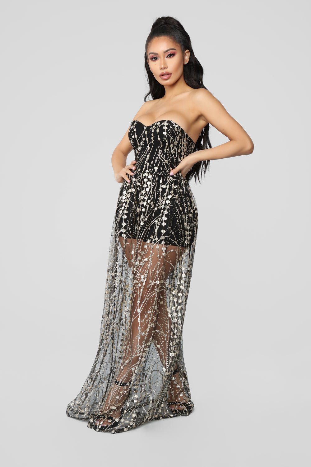 Drippin' In Finesse Sequin Dress -  Black/Gold