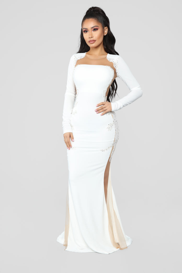 Craving Attention Mermaid Dress - White/Nude