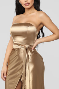 Aaliyah Satin Dress - Gold