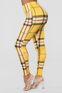 Plaid About It Leggings - Yellow