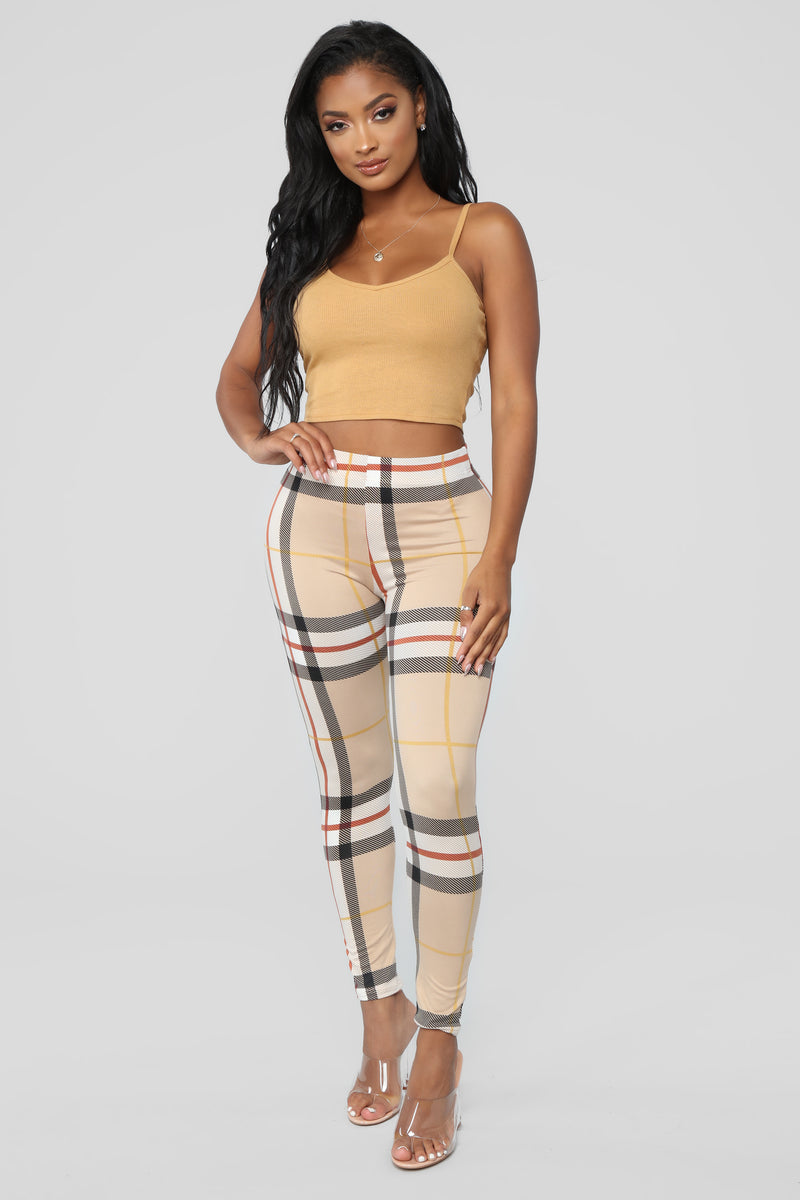 Plaid About It Leggings - Brown