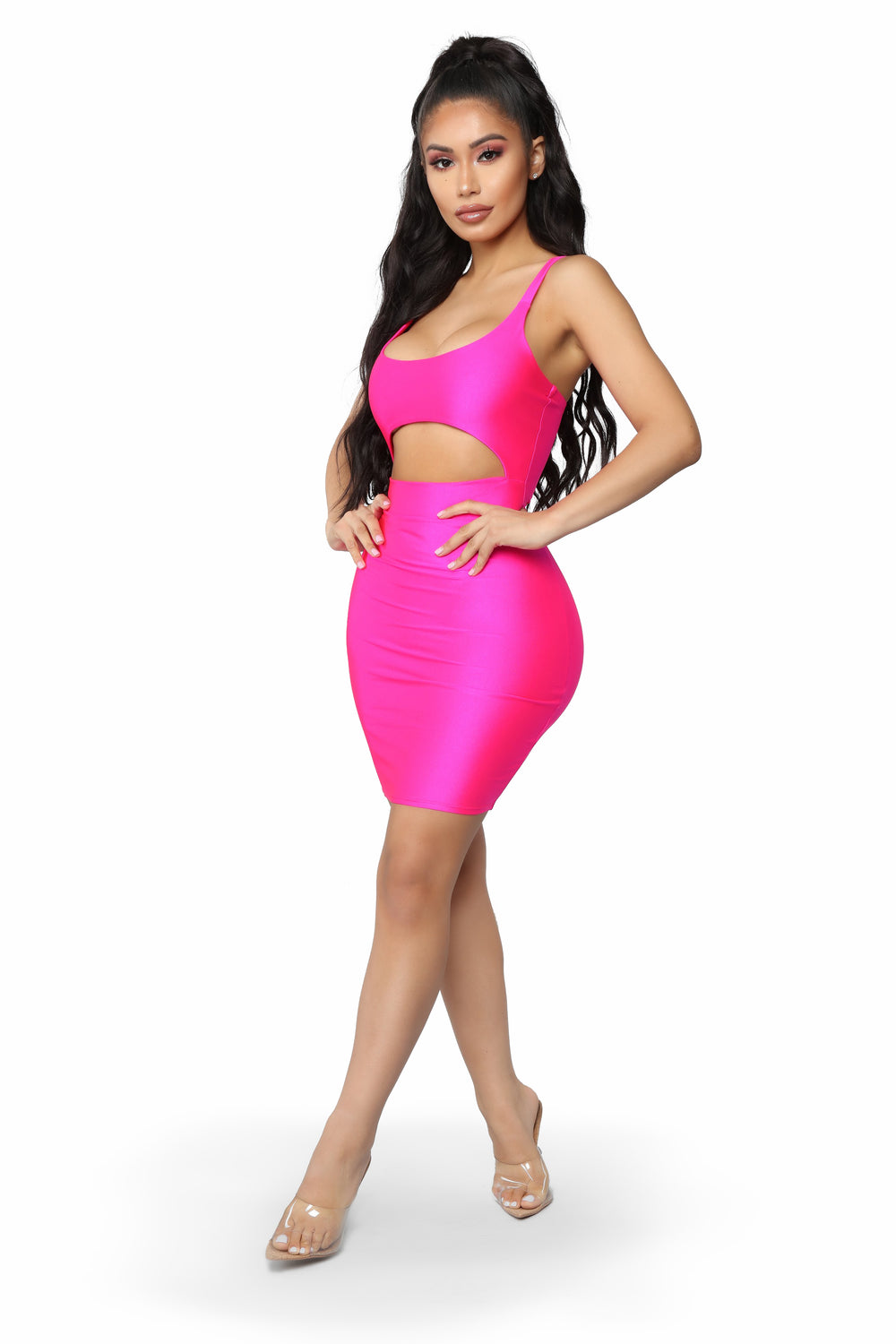 Cut To The Chase Mini Dress - Hot Pink