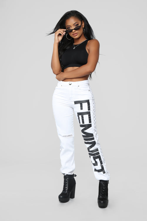 Strength In Numbers High Rise Jeans - White