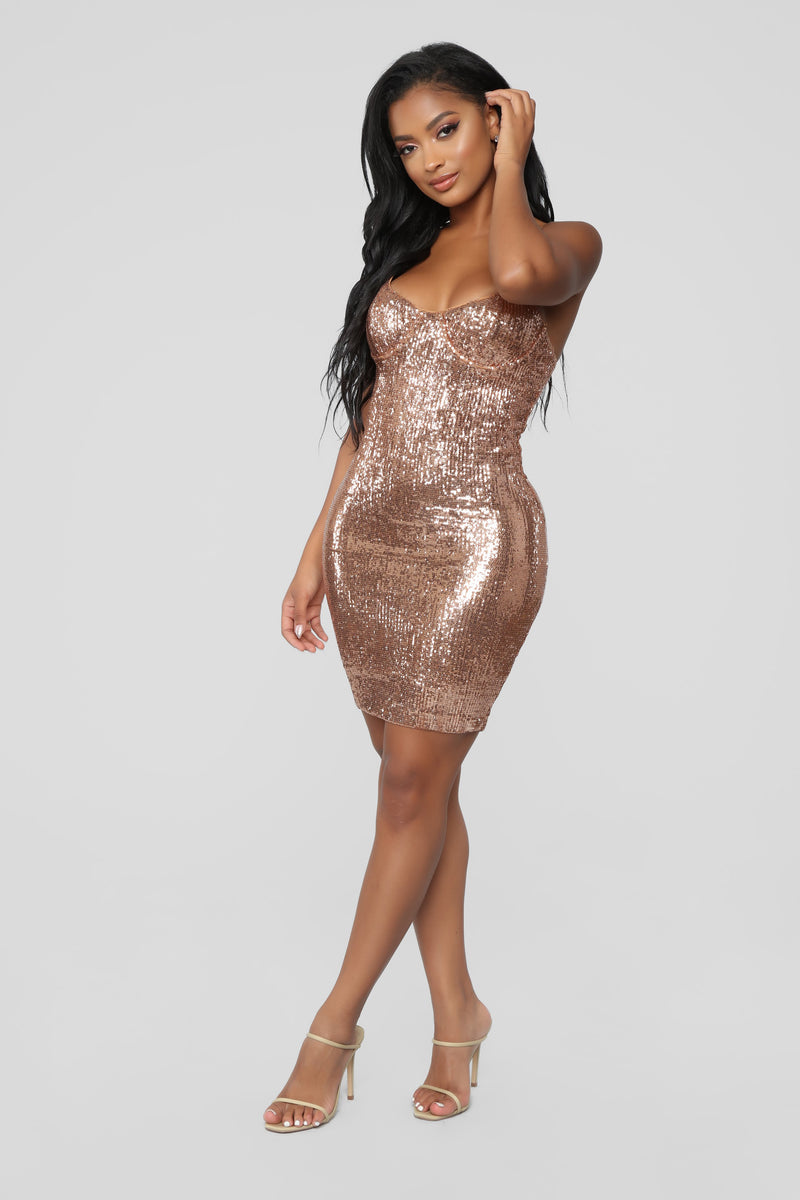 bced829928 Livin  For The Weekend Sequin Dress - Copper