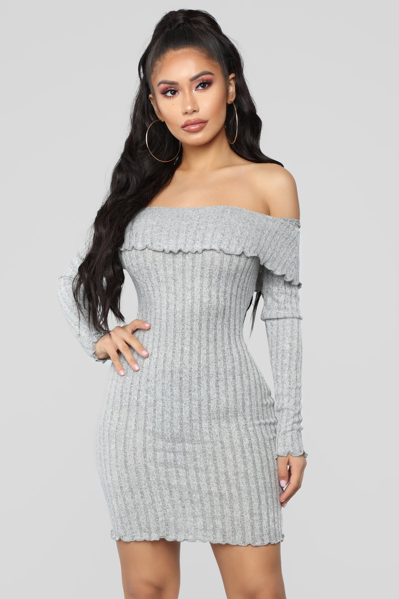 Be My Baby Off Shoulder Dress - Heather Grey