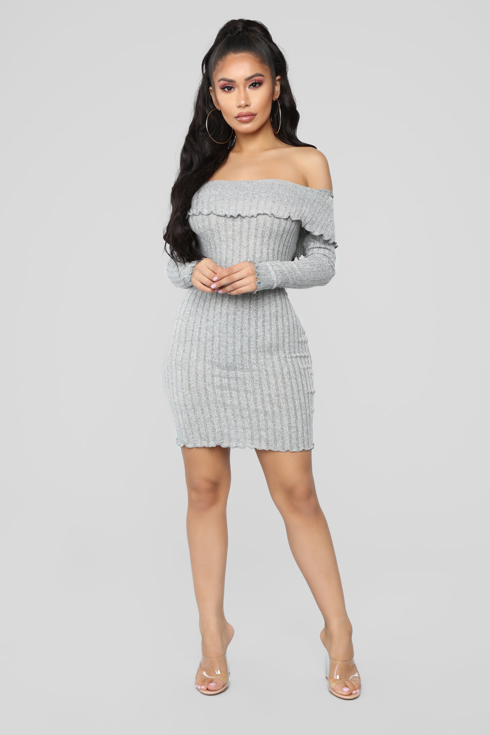 ce32719860 Be My Baby Off Shoulder Dress - Heather Grey