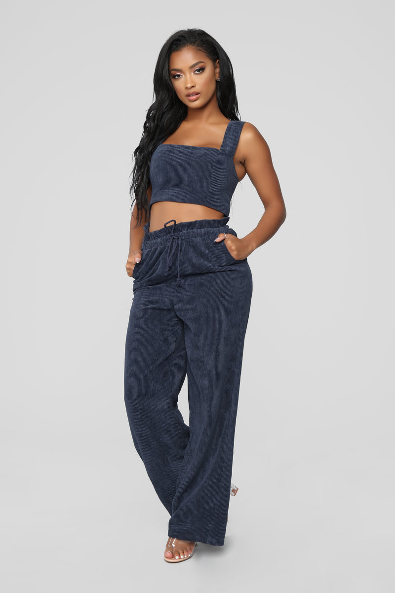 Leave  You Guessing Corduroy Set - Blue